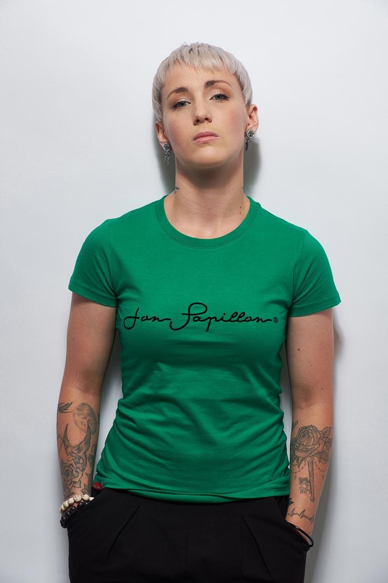 Tee shirt en coton pour femme vert émeraude