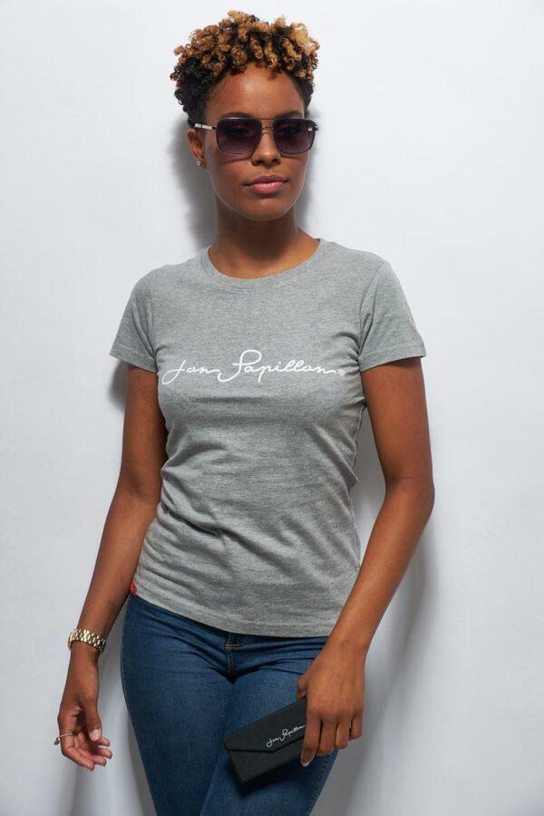 tee shirt en coton gris perle femme