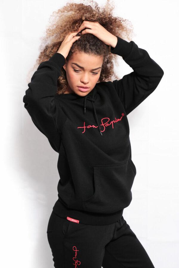 Sweat streetwear à capuche couleur noir
