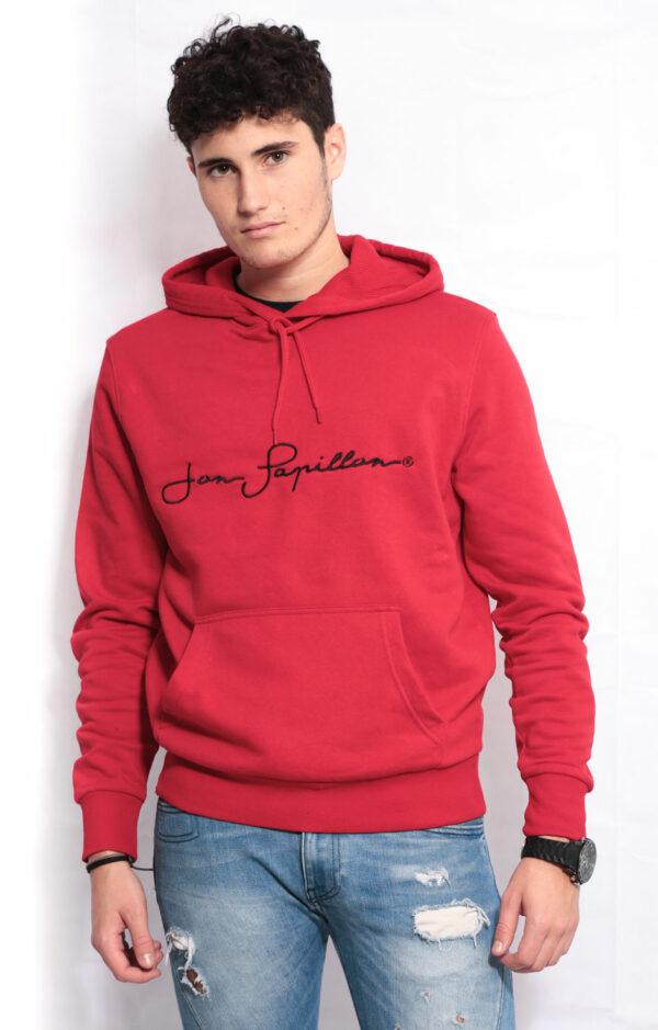 sweat à capuche rouge rubis avec poche kangourou